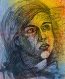 Ritratto di una ragazza che cerca con le espressioni tristi - schizzo della matita illustrazione vettoriale