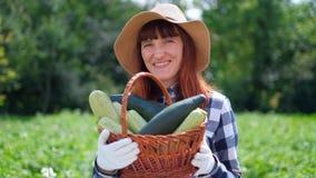 Ritratto di una ragazza che raccoglie zucca fresca sulla piantagione organica video d archivio