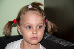 Ritratto di una ragazza con il primo piano delle trecce Immagine Stock