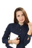 Ritratto di una ragazza con il taccuino e la penna Fotografia Stock