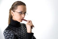 Ritratto di una ragazza con la penna Immagini Stock