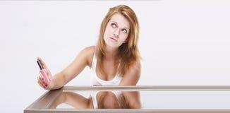 Ritratto di una ragazza con le emozioni di espressione. Immagine Stock
