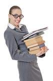 Ritratto di una ragazza con una pila di libri Fotografia Stock Libera da Diritti