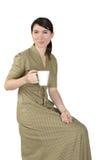 Ritratto di una ragazza con una tazza bianca Fotografia Stock Libera da Diritti