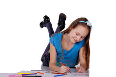 Ritratto di una ragazza felice con le penne del feltro Immagine Stock Libera da Diritti