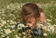 Ritratto di una ragazza in mezzo ad un campo della camomilla fotografie stock libere da diritti