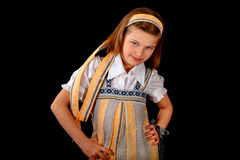 Ritratto di una ragazza russa in vestito e bagel nazionali Fotografie Stock