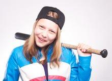 Ritratto di una ragazza teenager con il pipistrello Immagine Stock Libera da Diritti