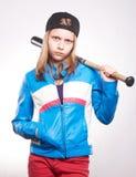 Ritratto di una ragazza teenager con il pipistrello Immagini Stock Libere da Diritti