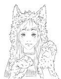 Ritratto di una ragazza teenager sveglia in cappello animale Immagine Stock