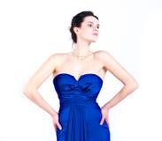 Ritratto di una ragazza in vestito blu Fotografia Stock