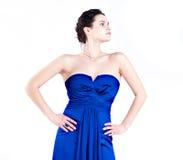 Ritratto di una ragazza in vestito blu Fotografie Stock