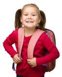 Ritratto di una scolara sveglia con lo zaino Fotografie Stock Libere da Diritti