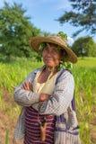 Ritratto di una signora birmana non identificata dell'agricoltore Fotografia Stock Libera da Diritti