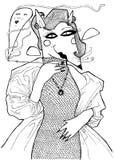 Ritratto di una volpe bianca con un vestito dal boccaglio, da velo e da sera I grafici in bianco e nero, possono essere utilizzat illustrazione di stock
