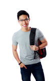 Ritratto di uno studente felice con lo zaino Immagini Stock