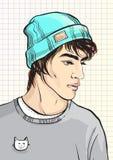 Ritratto di vettore dell'uomo di modo hipster Modo di stile della via Schizzo di modello dei tipi di bellezza royalty illustrazione gratis