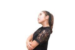 Ritratto di vista laterale di bello pensiero della donna dell'Asia isolato Fotografia Stock Libera da Diritti