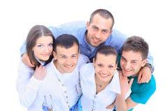 Ritratto di vista superiore degli uomini felici Immagine Stock