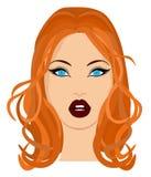 Ritratto di web di bello castana in primo piano di vetro Illustrazione di vettore royalty illustrazione gratis