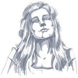 Ritratto disegnato a mano della donna di flirt dalla pelle bianca, emozioni del fronte illustrazione vettoriale