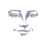 Ritratto disegnato a mano della donna di flirt dalla pelle bianca, emozioni del fronte illustrazione di stock
