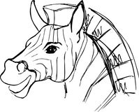 Ritratto disegnato a mano della zebra illustrazione di stock