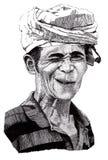 Ritratto disegnato a mano di sbattere le palpebre uomo Fotografia Stock Libera da Diritti