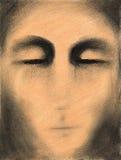 Illustrazione disegnata a mano dell'uomo triste sconosciuto Fotografie Stock Libere da Diritti