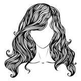Ritratto disegnato a mano femminile Fotografia Stock