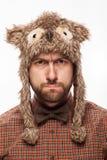 Ritratto divertente di un uomo con emozione sul suo fronte Fotografia Stock