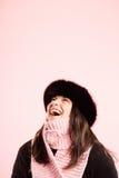 Alta definizione della donna del ritratto di rosa della gente reale divertente del fondo Fotografia Stock