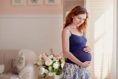Ritratto domestico della donna incinta Fotografia Stock Libera da Diritti