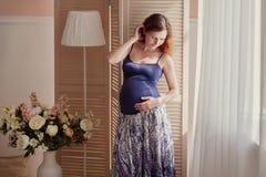 Ritratto domestico della donna incinta Fotografie Stock