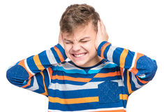 Ritratto emozionale del ragazzo teenager Fotografie Stock