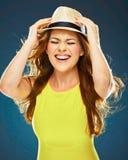 Ritratto emozionale felice della donna Sorriso Toothy fotografie stock