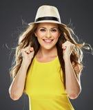 Ritratto emozionale felice della donna Sorriso Toothy fotografia stock