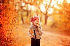 Ritratto felice della ragazza del bambino sulla passeggiata nella foresta soleggiata di autunno Immagine Stock