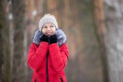 Ritratto femminile all'aperto in rivestimento rosso di inverno Immagini Stock