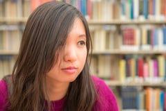 Ritratto femminile in biblioteca Fotografia Stock Libera da Diritti