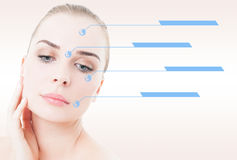 Ritratto femminile con pelle liscia ed indicatori sul suo fronte Fotografia Stock
