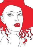 Ritratto femminile di modo in un cappello rosso Fotografie Stock