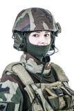 Ritratto francese del fronte del paracadutista fotografia stock
