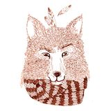 Ritratto grafico della volpe con la sciarpa Fotografie Stock Libere da Diritti
