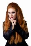Ritratto impressionabile La giovane donna della testarossa dimostra le varie emozioni Fotografia Stock
