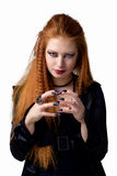 Ritratto impressionabile La giovane donna della testarossa dimostra le varie emozioni Fotografia Stock Libera da Diritti