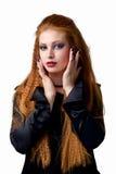 Ritratto impressionabile La giovane donna della testarossa dimostra le varie emozioni Immagine Stock