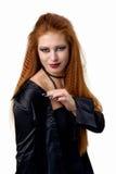 Ritratto impressionabile La giovane donna della testarossa dimostra le varie emozioni Fotografie Stock