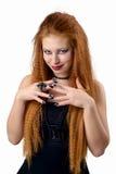 Ritratto impressionabile La giovane donna della testarossa dimostra le varie emozioni Immagini Stock