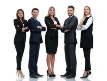 Ritratto integrale del gruppo di gente di affari, isolato su bianco immagine stock